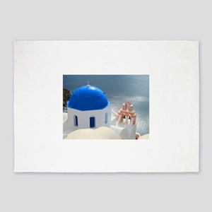 Santorini Church in the Afternoon S 5'x7'Area Rug