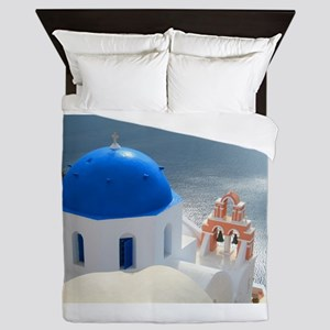 Santorini Church in the Afternoon Sun Queen Duvet