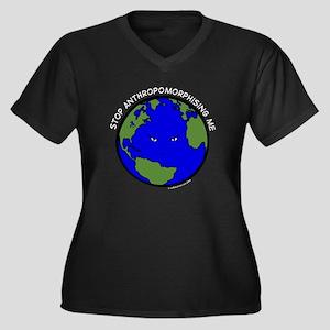 Cranky Planet Women's Plus Size V-Neck Dark T-Shir