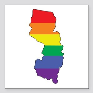 "Gay Pride Flag NJ Square Car Magnet 3"" x 3"""