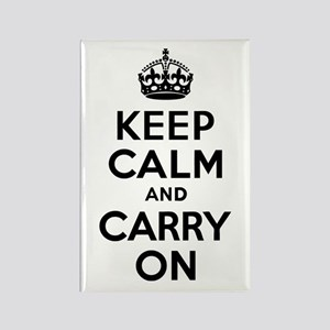 Keep Calm & Carry On Rectangle Magnet