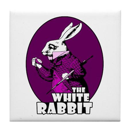White Rabbit Logo Plum Tile Coaster