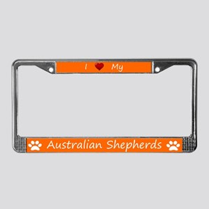Orange I Love My Australian Shepherds Frame