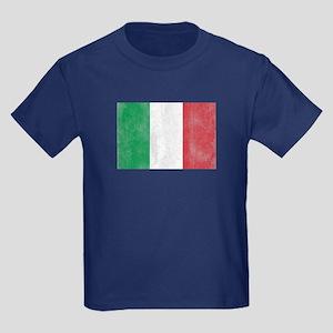 Vintage Italy Flag Kids Dark T-Shirt