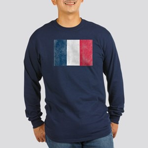 Vintage French Flag Long Sleeve Dark T-Shirt