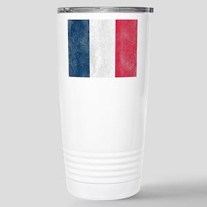 Vintage French Flag Stainless Steel Travel Mug