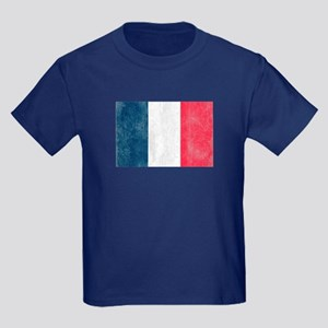 Vintage French Flag Kids Dark T-Shirt