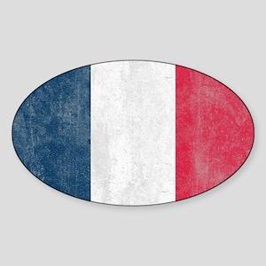 Vintage French Flag Sticker (Oval)