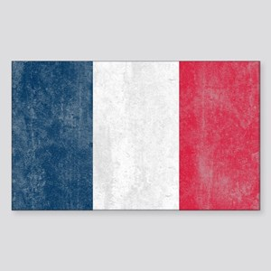 Vintage French Flag Sticker (Rectangle)
