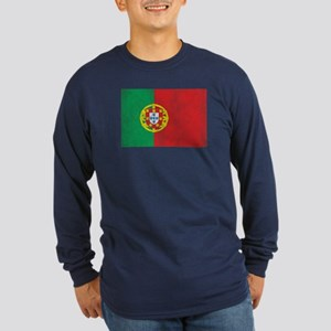Vintage Portugal Flag Long Sleeve Dark T-Shirt