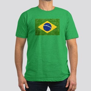 Vintage Brazil Flag Men's Fitted T-Shirt (dark)