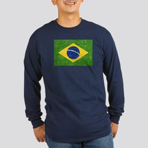 Vintage Brazil Flag Long Sleeve Dark T-Shirt
