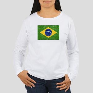 Vintage Brazil Flag Women's Long Sleeve T-Shirt