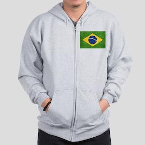 Vintage Brazil Flag Zip Hoodie
