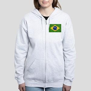Vintage Brazil Flag Women's Zip Hoodie