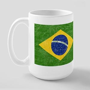 Vintage Brazil Flag Large Mug