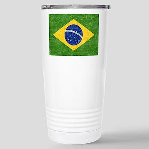 Vintage Brazil Flag Stainless Steel Travel Mug