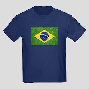 Vintage Brazil Flag Kids Dark T-Shirt