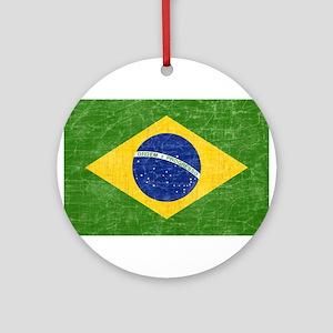 Vintage Brazil Flag Ornament (Round)