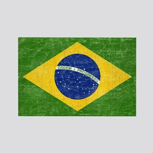 Vintage Brazil Flag Rectangle Magnet