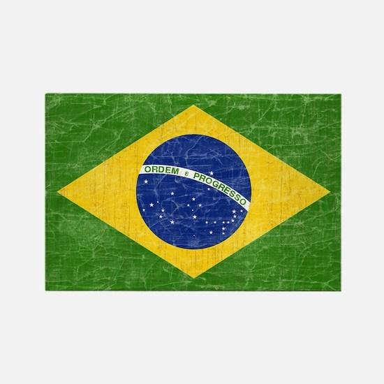 Vintage Brazil Flag Rectangle Magnet