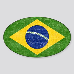 Vintage Brazil Flag Sticker (Oval 10 pk)