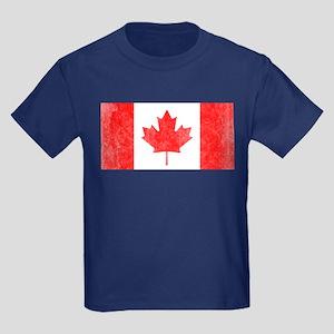 Vintage Canada Flag Kids Dark T-Shirt