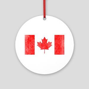 Vintage Canada Flag Ornament (Round)