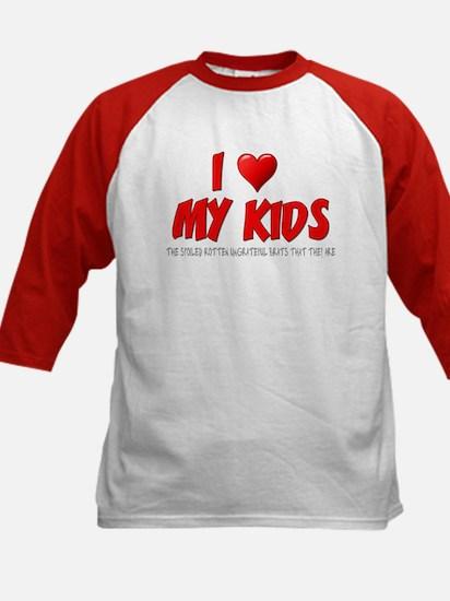 I Love My Kids Kids Baseball Jersey