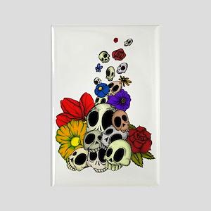 Skulls & Flowers Rectangle Magnet