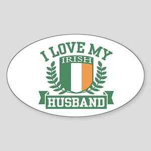 I Love My Irish Husband Sticker (Oval)