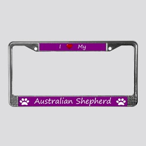Purple I Love My Australian Shepherd Frame