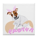 Jack Russell Easter Design Tile Coaster