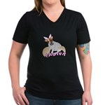Jack Russell Easter Design Women's V-Neck Dark T-S