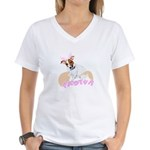 Jack Russell Easter Design Women's V-Neck T-Shirt
