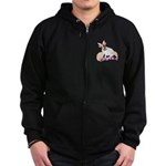 Jack Russell Easter Design Zip Hoodie (dark)