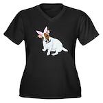 Jack Rabbit Women's Plus Size V-Neck Dark T-Shirt