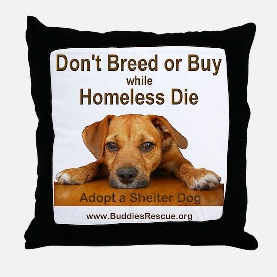 Adopt a Shelter Dog Throw Pillow