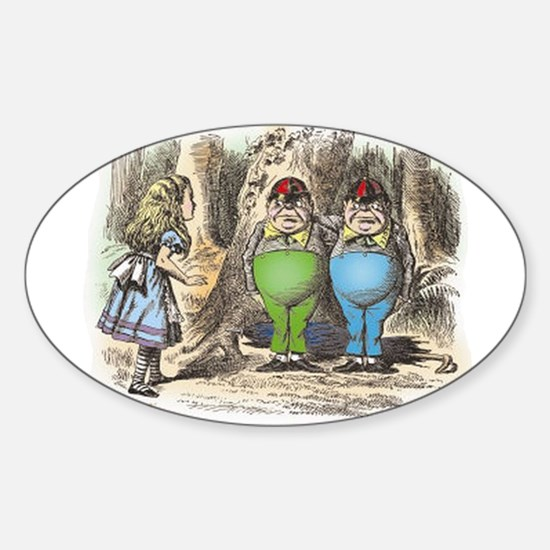 Tweedledum and Tweedledee Sticker (Oval)