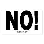 NO! Sticker (Rectangle 50 pk)
