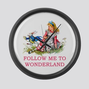 ALICE - Follow Me To Wonderland Large Wall Clock