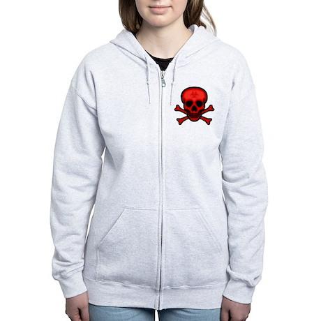 Red Biohazard Skull Women's Zip Hoodie
