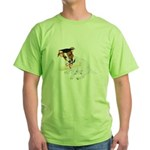 Jack Russell Graduation Design on Green T-Shirt