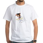 Jack Russell Graduation Design on White T-Shirt