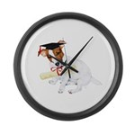 Jack Russell Graduation Design on Large Wall Clock