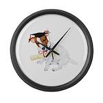 Jack Russell Graduation Design on Large Wall Clock