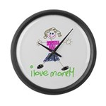 I Love Mommy- Daughter Large Wall Clock