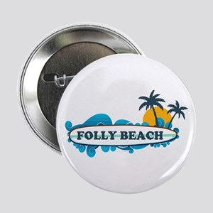 "Folly Beach SC - Surf Design 2.25"" Button"