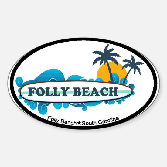Folly Beach SC - Surf Design Sticker (Oval)