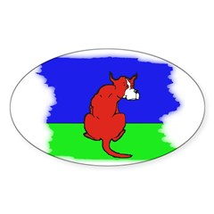ARTISTIC CARTOON DOG Oval Decal